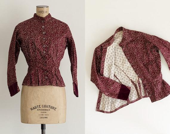 Antique Calico Blouse | Burgundy Cotton 1900s Blou