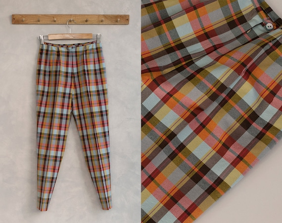 Vintage Plaid Pants | 60s Cigarette Pants | Pique-