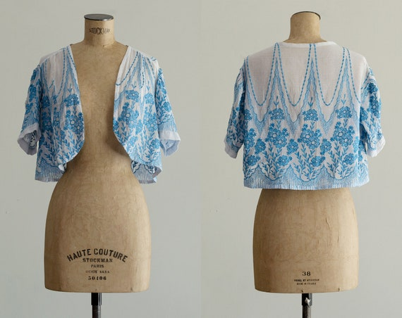 Embroidered 30s Bolero | 1930s Jacket | Sheer Silk