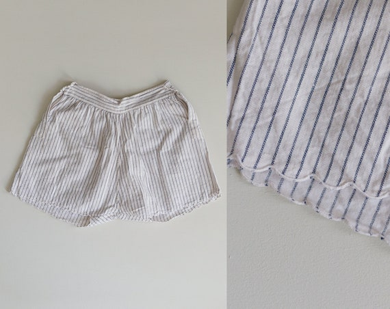 1930s Striped Cotton Shorts | High Rise Shorts | S