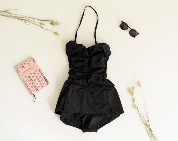 Vintage 40s Swimsuit | Black Bathing Suit | Skirte