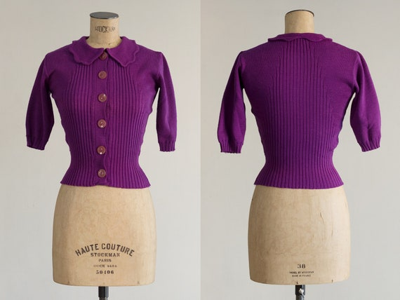 1940s Wool Sweater | Purple Sweater | Ribbed Knit
