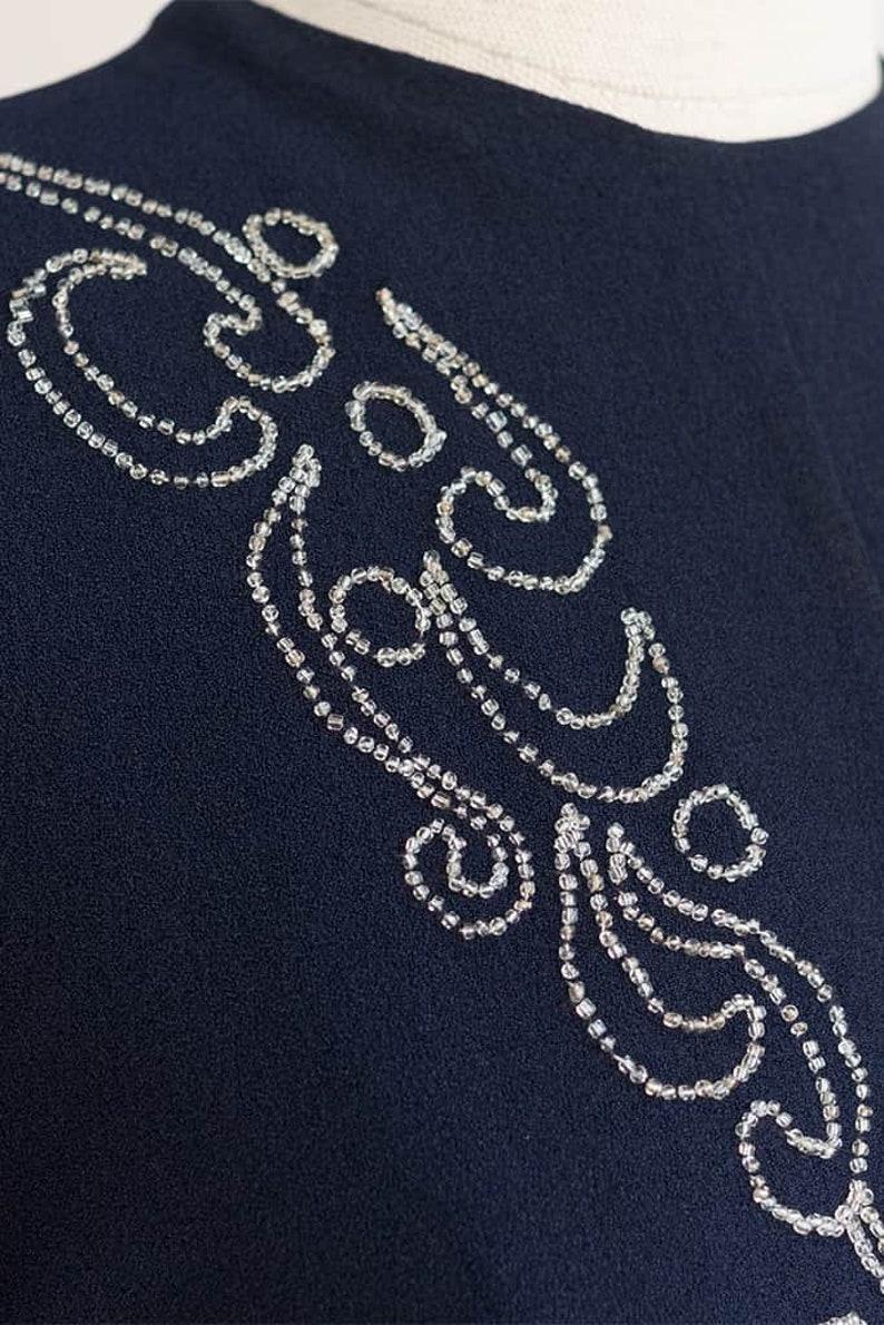 Embellished Dress 1940s Beaded Dress Vintage 40s Navy Blue Dress