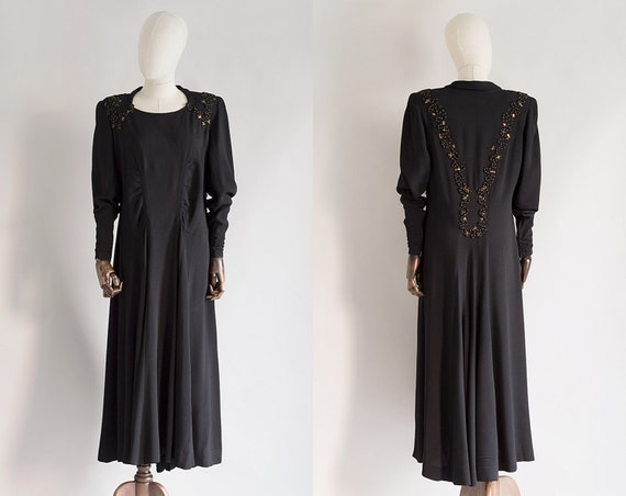 Black Soutache Dress | Vintage 1940s Dress | Volup