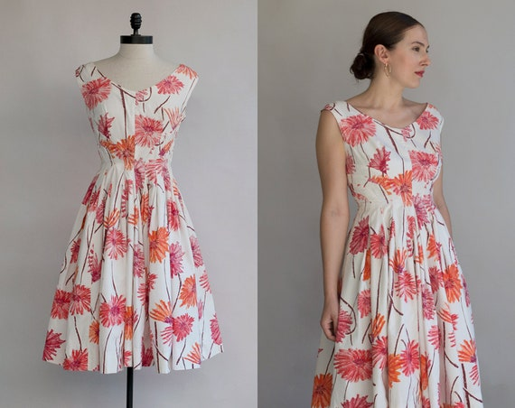 50s Summer Dress | Vintage White Floral Dress | Su