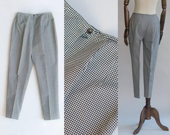 Black Gingham Pants | Vintage 60s Pants | Rebeca P