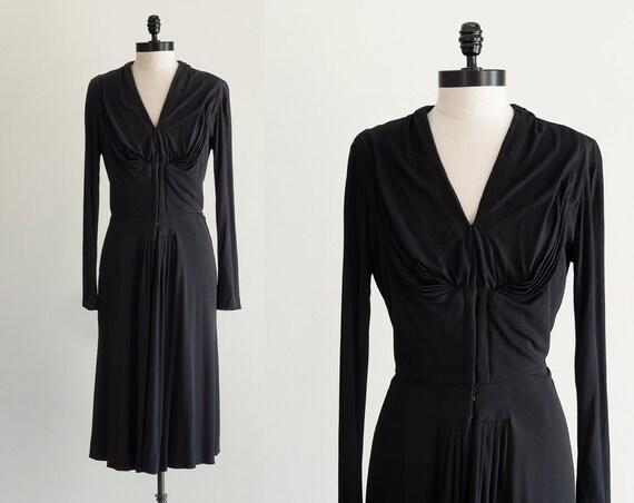 V Neck 1940s Dress | Black Jersey Dress | V Neck D