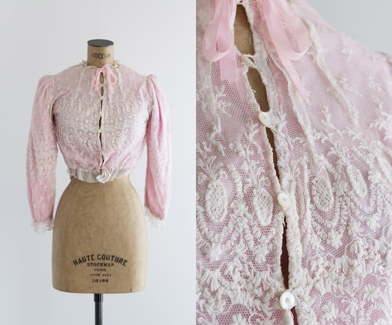 Pink and White Edwardian Blouse - Tambour Lace - L