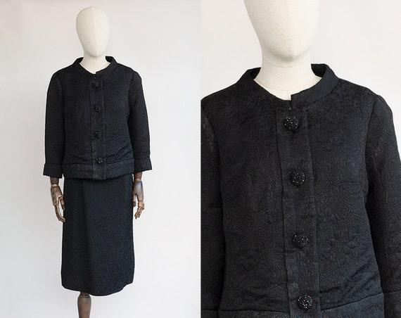 Vintage Skirt Suit | 1960s Black Brocade Suit | Ch