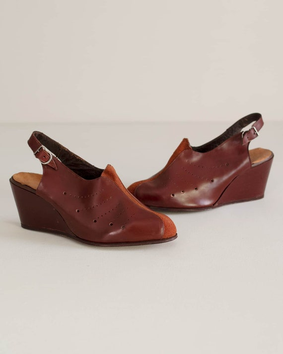 Deadstock 40s Platform Shoes | Brick Red Leather 1