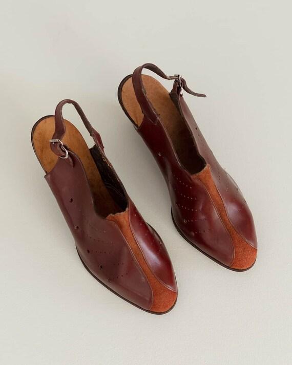 Deadstock 40s Platform Shoes   Brick Red Leather … - image 4