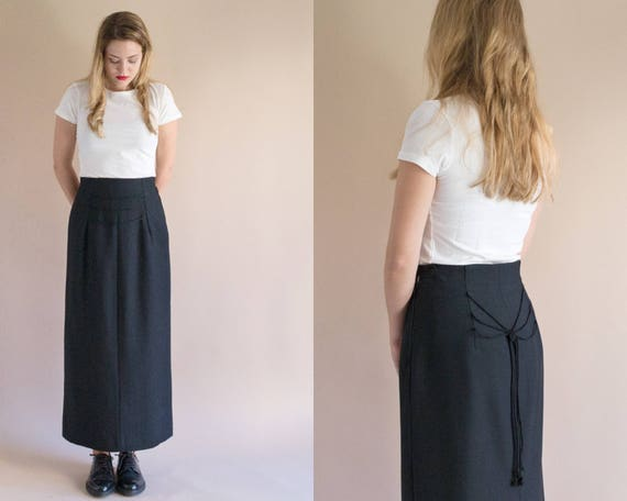 1970s Long Black Skirt   Vintage 70s Wool Lace Up Maxi Skirt   Nudo Skirt 35% Off by Etsy