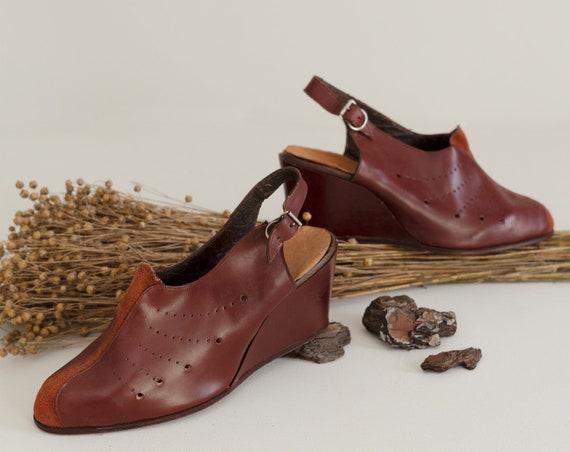 Deadstock 40s Platform Shoes   Brick Red Leather … - image 2