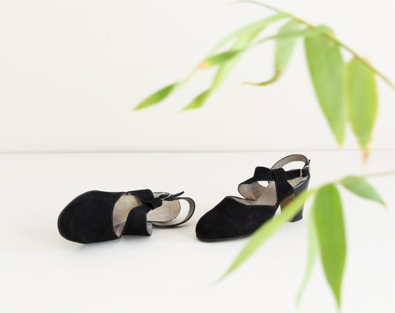 Deadstock Vintage 1930s Slingback Heels | Black Su