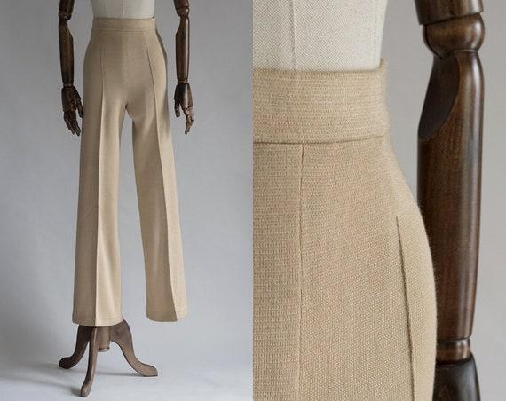Deadstock Vintage Camel Knit Pants | 70s Wide Leg