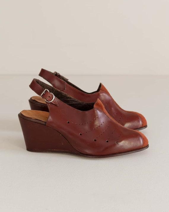 Deadstock 40s Platform Shoes   Brick Red Leather … - image 3