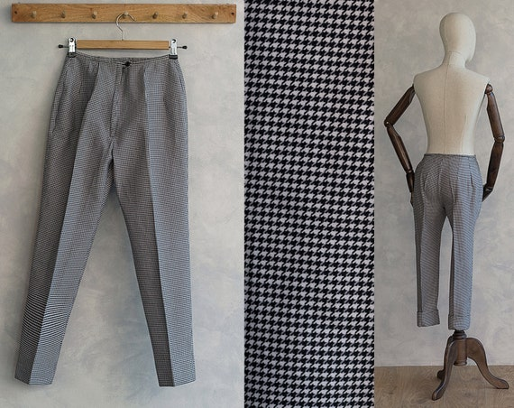 60s Cigarrette Pants - Houndstooth Print Pants - B
