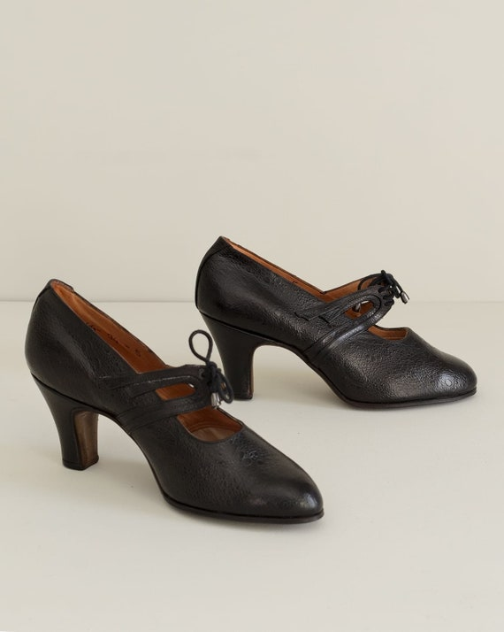1930s Vintage Black Heels | Deadstock French Lace… - image 2