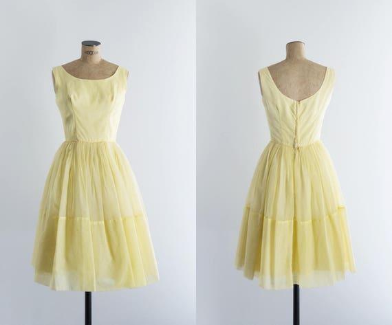 Vintage 50s Yellow Prom Dress