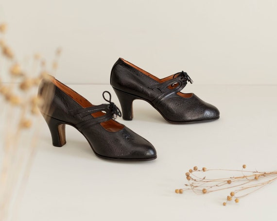 1930s Vintage Black Heels | Deadstock French Lace… - image 1