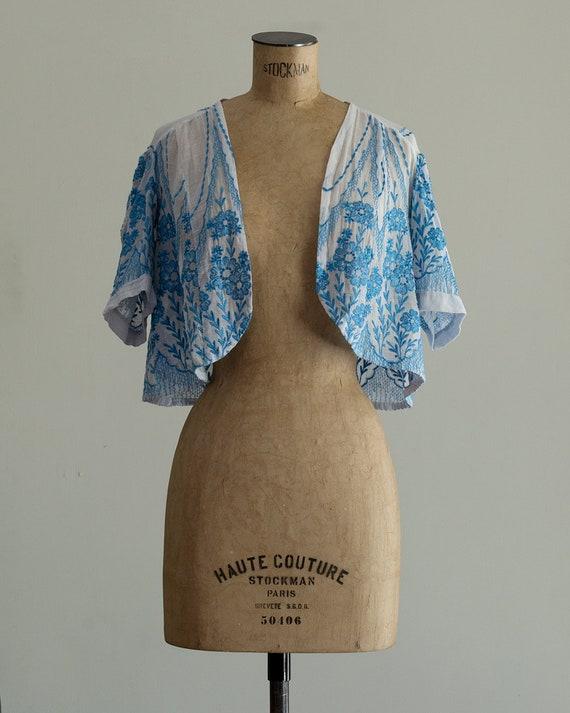 Embroidered 30s Bolero | 1930s Jacket | Sheer Sil… - image 3