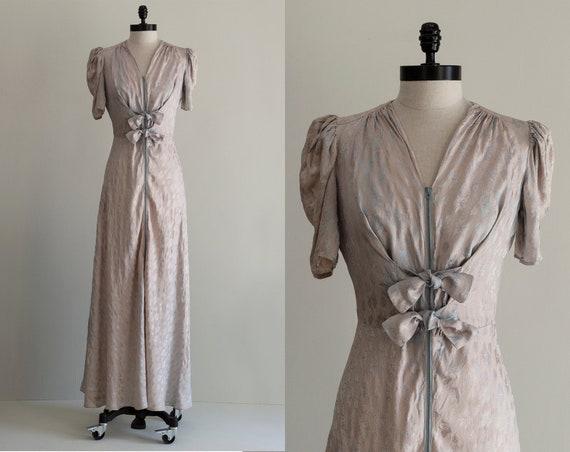 Jacquard 1930s Gown | Zipper Front Dress | Light G