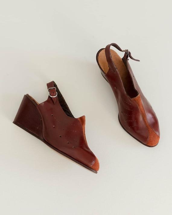 Deadstock 40s Platform Shoes   Brick Red Leather … - image 5