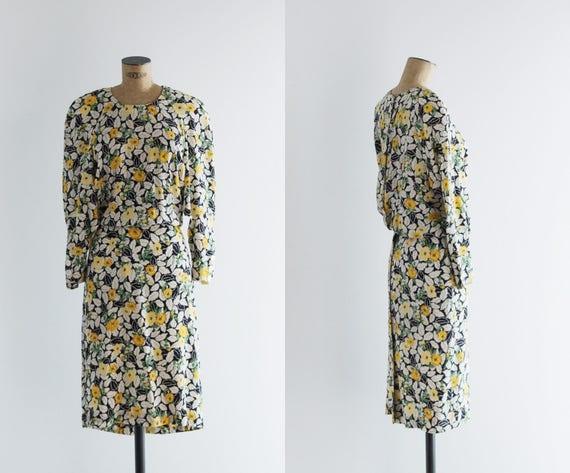 1980s Dress - Vintage 80s Silk Floral Slit Open Ba