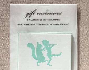 Set of four Letterpress Gift Enclosures with Woodland Scene