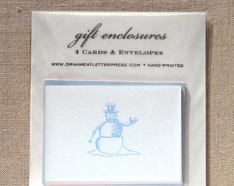 Set of four Gift Enclosures with Letterpress Snowman
