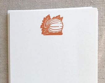Flat Card Set with Letterpress Pumpkin (vertical)