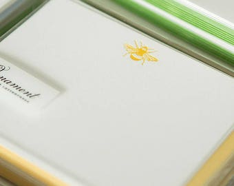 Flat Card Set with Letterpress Bumble Bee