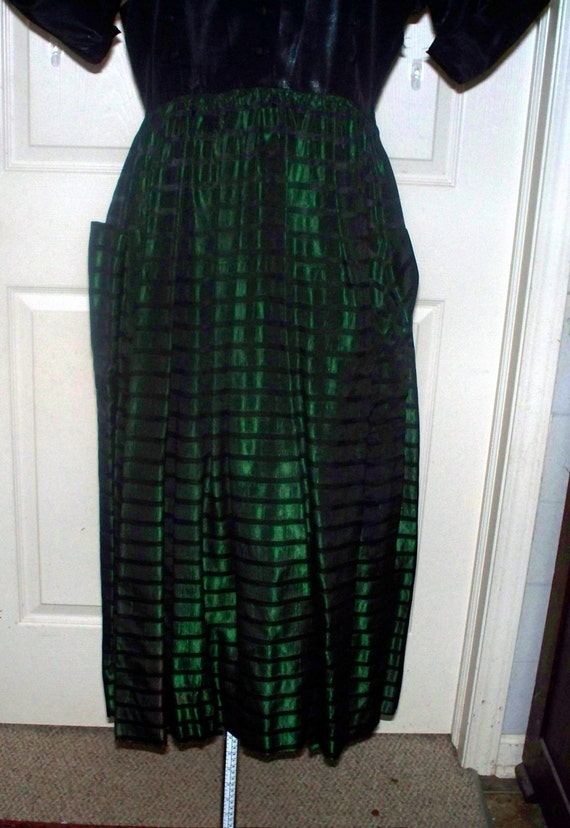 Vintage - 1940s/50s Green Black Taffeta Dress - S… - image 2