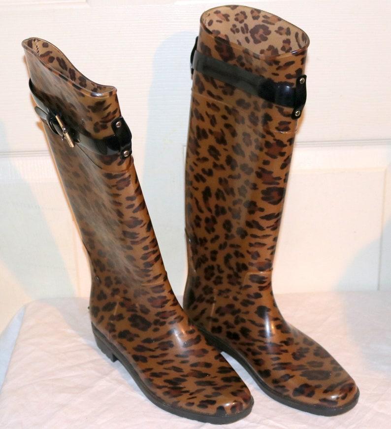 dc1af9966f865 90's Ralph Lauren Animal Print Boots - Women's size 7 - Brown/Black Rain  Boots