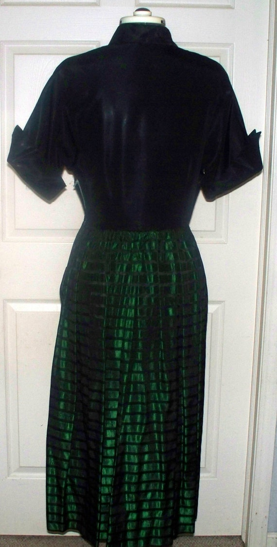 Vintage - 1940s/50s Green Black Taffeta Dress - S… - image 4
