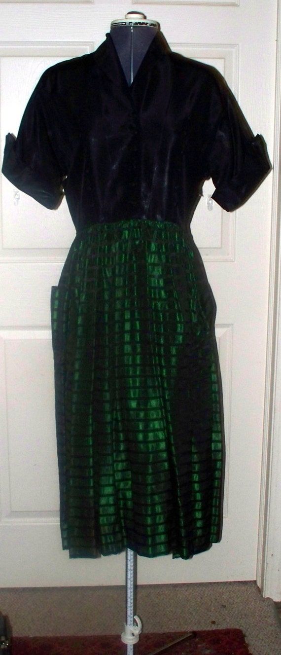 Vintage - 1940s/50s Green Black Taffeta Dress - S… - image 1
