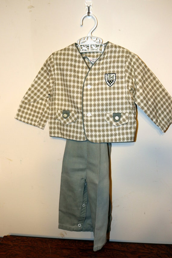 1950s Jack and Jill Togs Green/Gray Boys Suit - Si