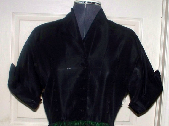 Vintage - 1940s/50s Green Black Taffeta Dress - S… - image 3