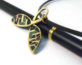 green enamel leaf pendant necklace. Classy st patrick jewelry, handmade wearable artistic jewelry