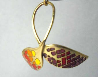 Autumn leaves pendant, yellow red free standing enameled brass. One Of A Kind Modern jewelry for nature lovers