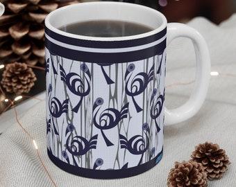 Dark blue pattern, light blue grid background Coffee Mug 11oz, African fabric design,