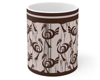 Coffee Mug 11oz, African fabric design, Chocolate color