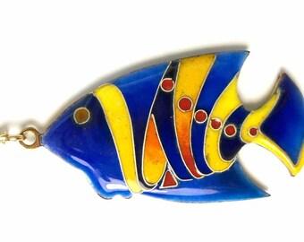 Enamel fish necklace,  cloisonné enamel blue pendant ( Vitreous enamel jewelry )