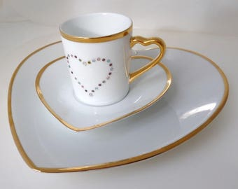 "Coffee and cake slice ""Swarovski heart"""