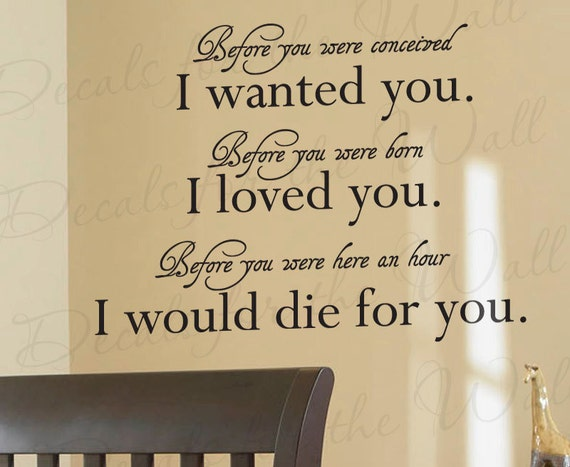Before You Were Conceived I Wanted You Born Loved Vinyl Wall Quote Decal Art B07
