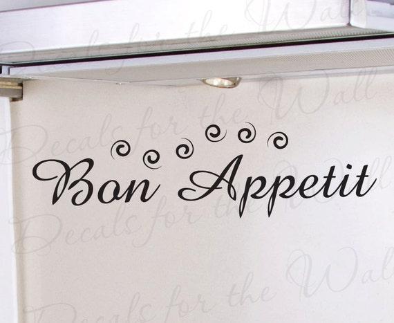 Bon Appetit Kitchen Wall Decal Vinyl Art Sticker Quote Decor Saying KI11