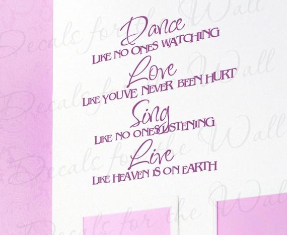Danza Como Nadie Viendo Amor Vivo Inspiracional Motivacional Pegatina Vinilo Gráfico Etiqueta De La Pared Letras Arte Decor Decoración J2