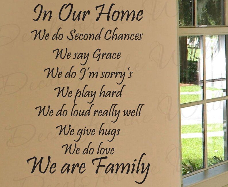 In Our Home We Do Second Chances Love Home Family Decorative Etsy