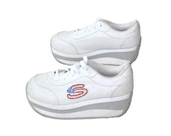 Vintage Platform Sneakers Platform Shoes Chunky Heel Sneakers 90s Platform Sneakers White Sneakers Size 7