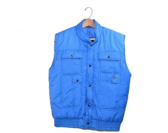 Vintage Blue Vest Quilted Vest Vintage Ski Vest Men's Blue Vest Men's Outerwear Men's Quilted Vest Vest with Pockets